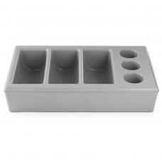 Stalo įrankių dėklas su padėklu - 6 sekcijos - pilkas - 552261